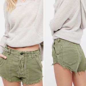 Free People Boho Army Green Raw & Patched Shorts